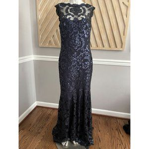 TADASHI SHOJI Embroidered Lace Paillette Navy Gown